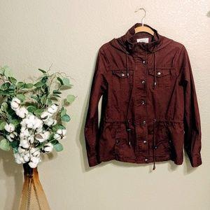 Ashley Outerwear Maroon Anorak Jacket Sz L
